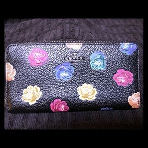 Coach Accordion Style Zip Wallet with Rose Print